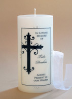 Large Ornate Cross Christian Memorial Candle