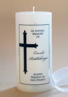 Large Finial Cross Christian Memorial Candle