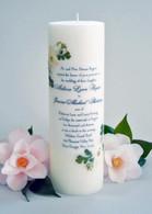 White Linen Wedding Invitation Candle