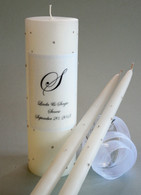Personalized Wedding Unity Candle with matching tapers made with Swarovski Crystals in a scattered crystal design.