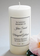 Simple Script Green Memorial Candle