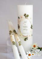 Vintage White Hydrangea Wedding Unity Candles