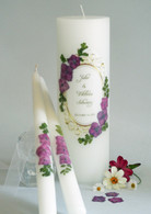 Vintage Plum Hydrangea Wedding Unity Candles