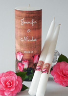 Rose Wood Wedding Unity Candle Set