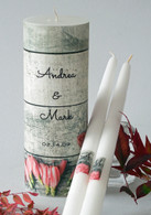Coral Wood Wedding Unity Candle Set