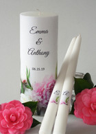 Peonies Wedding Unity Candle Set