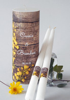 Yellow Rustic Wood Wedding Unity Candle Set