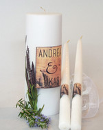 Purple Stock Wedding Unity Candle Set