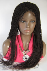 Hand braided lace front wig Micro twists Hope color #33 Dark auburn in 20""