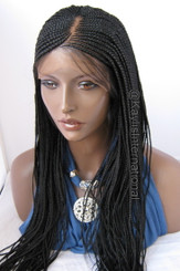Fully hand braided cornrow lace front wig Tania color #1 in 22""