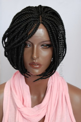 Fully hand braided lace front wig - Short Bob Annie Color #1 in 6""