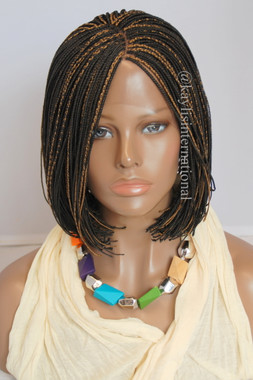 Fully Hand Braided Lace Front Wig Short Bob Micro Alice