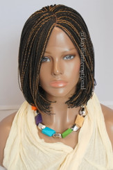 """Fully hand braided lace front wig - Short Bob Micro Alice #2/27 in 6"""""""