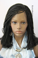 Fully hand braided lace front wig - Linda color 1 in 12""