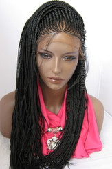 "Fully hand braided cornrow lace front wig Sonia color #1 in 22"" Small Cap"