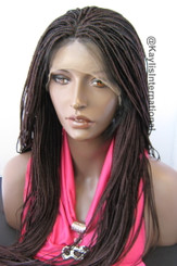 Fully hand braided lace front wig Hannah color 99J in 20""
