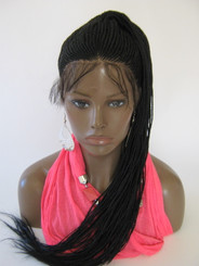 Hand Braided 360 Ponytail lace wig - Tasha color #1 Jet Black in 20""
