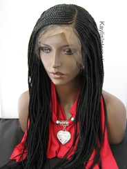 Fully hand braided cornrow lace front wig Emma  color #1 in 20""
