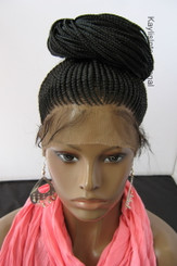 "Fully hand braided 360 wig - Tasha color 1 in 20"" (Thinner cornrows)"