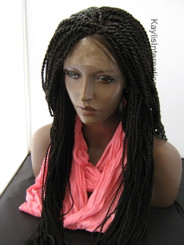 "Fully hand braided lace front wig - Nina color 2 in 22"" (Medium twists)"