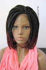Fully hand braided lace front wig - Short Bob Annie Color #1/Burgundy