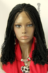 """Fully hand braided lace front wig - Helena Color #1  in 16"""""""