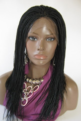Fully hand braided lace front wig -Micro Braids Hannah  Color #1 jet black  in 16""