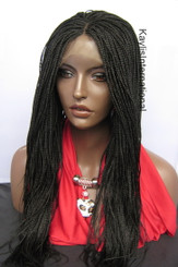 Fully hand braided lace front wig Micro Braids-Hannah  Color #2 in 20""