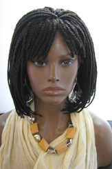 Fully hand braided lace front wig Bob Style -Ashley Color #2 in 8""