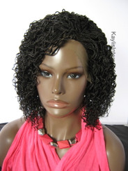 """Hand braided  lace front wig - Grace Color #2 in 12"""" Micro/Curly"""