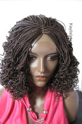 """Hand braided  lace front wig - Vanessa Color #33 in 12"""" Micro/Curly"""