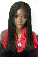 Fully hand braided 360 ponytail lace wig - Hope color #1 in 25""