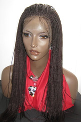 Fully hand braided lace front wig Micro Braids-Hannah  Color #99J in 20""