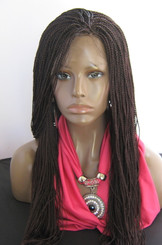 Fully hand braided lace front wig Micro Twists- Hope #99J in 20""