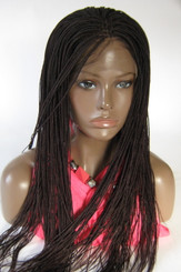 Hand braided lace front Micro Braids-Hannah  Color #99J in 20""