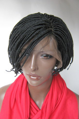 Hand braided lace front wig Micro short Pixie-Lauren Color #1  in 5""