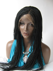 Hand braided lace front wig Micro Braids-Hannah  Color #1 in 20""