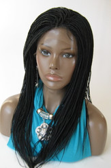 Hand braided lace front wig Micro Braids-Hannah  Color #1 in 17""