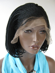 Fully hand braided lace front wig - Short Bob Cornrow Stacy #1 in 6""