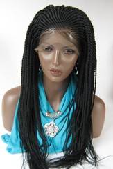 Fully hand braided lace front wig - Faith color #1 jet Black in 22""