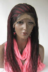 Fully hand braided lace front wig - Faith in  color Brown and Burgundy  18""