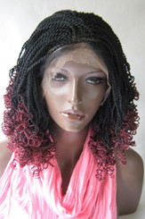 "Hand braided  lace front wig - Helena Color #1/burg  in 14"" Micro/Curly"