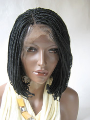 Fully hand braided lace front wig - Alicia  Short bob color #1 in 6""