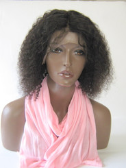 "100% Remy Human  Hair 12"" Kinky Curly 13 x 4 Lace Front Wig / Pre Plucked"