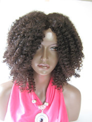 Big  Afro Kinky Curly  Synthetic Hair Wig in Medium Brown (Synthetic Non lace Wig)