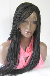 13 x 6 Hand braided lace front wig Micro Braids-Hannah  Color #2 in 20""