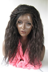 "13 x 6  Fully Hand Braided lace wig Celina Color #4 in 17"" Wet and Wavy"