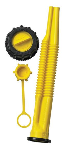 Scepter (Canada) HDPE Plastic (Petrol/Diesel) Jerry Can Pouring Spout Parts, Which Includes: (1) Cap, (2) Pouring Spout, (3) Vent Outlet Cap.