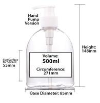 500ml PET Plastic Bottle w Hand Pump Dispenser (Bulk Discount Available)