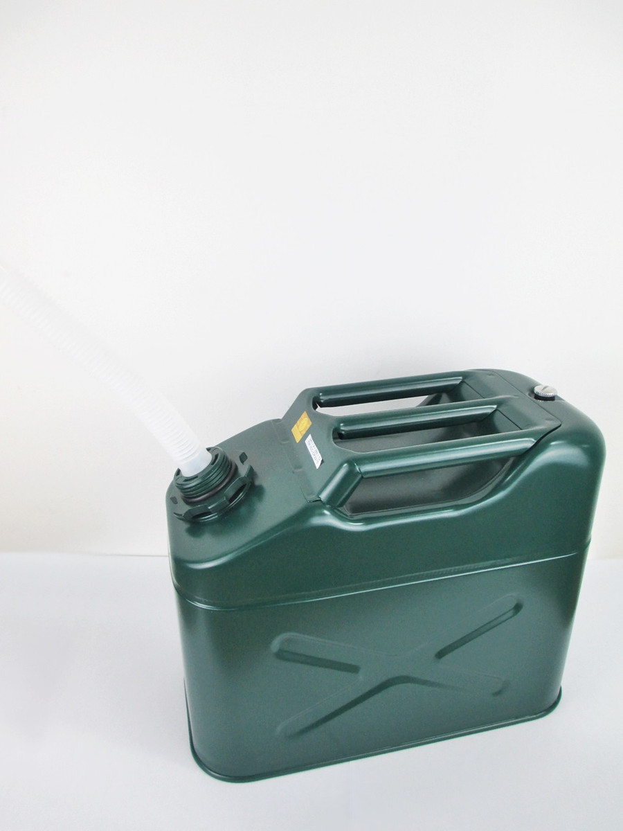 Gas And Spout Diesel 2 x Green 20 Litre Metal Jerry Cans For Fuel Petrol